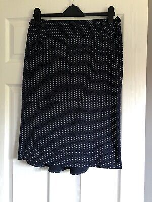 Size 14 Navy And White Polka Dot Frill Pencil Skirt • 0.99£