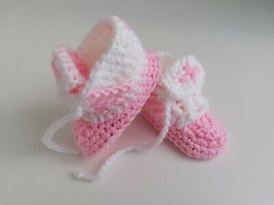 Baby Crochet Shoes SNEAKERS TRAINERS HAND Made BOOTIES Knit CLOTHES YARN • 1.99£