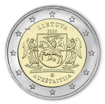 $ CDN5.26 • Buy Lithuania 2 Euro Coin 2020 Aukštaitija UNC From Bank Roll
