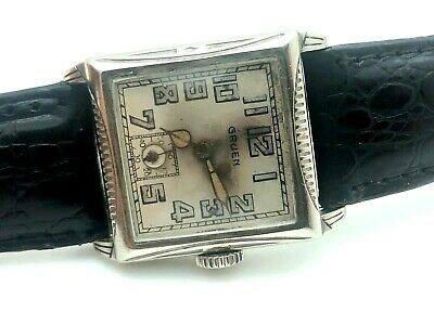 Gruen 1920's Original Dial WWI MILITARY TRENCH 14K WHITE GOLD FILLED ARMY RUNS • 59.73£