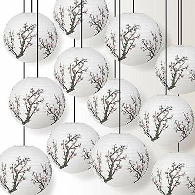 12 PACK   16  Bamboo Pattern Paper Lantern, Hanging Party Decoration Combo Set • 26.51£