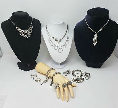 $ CDN32.94 • Buy Lot Of Vintage Rhinestone Jewelry Necklaces Rings More.. Ready To Wear Or Resell