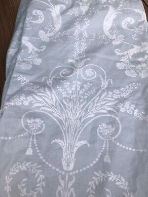 "Single Duck Egg Blue Linen? Mix Fleur De Lys Curtain Lined W60"" D66"" • 10£"