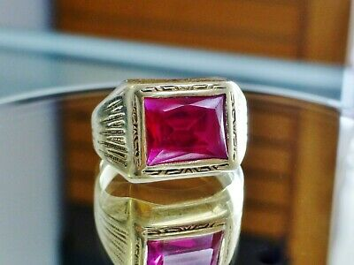 $349 • Buy Vintage Emerald Cut Ruby East West Ring Men's 10K Yellow Gold Pinky Ring