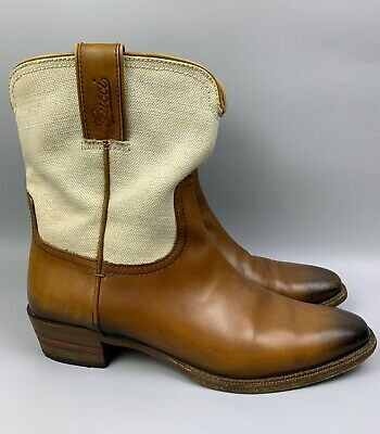 GUCCI Cowboy Brown Leather Western Boots Size 37 C Women's Canvas Mid-Calf Shoes • 191.56£