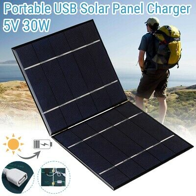 30W Solar Panel Folding Portable Power USB Charger Travel Outdoor Camping Output • 13.78£