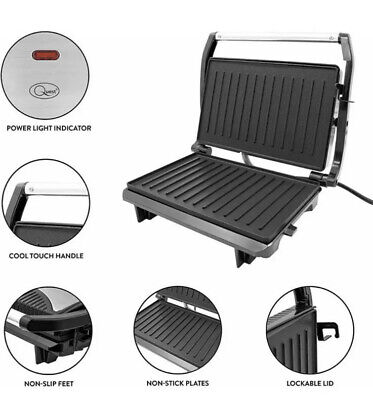 2 Slice Panini Press, Toasted Sandwich Maker And Multi Use Health Grill 700W • 19.99£