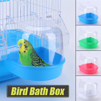 Bird Bath Tub For Pet Cage Hanging Bowl Parrots Parakeet Food Water Feeder  M ! • 7.45£
