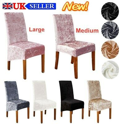 Crushed Velvet Stretch Dining Chair Covers Protective Slipcover Home Decor UK • 6.65£