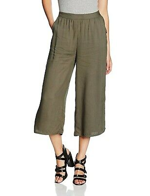 New Look Khaki Elasticated Waist Wide Leg Cropped Trousers Culottes 8 36 Pockets • 6.95£