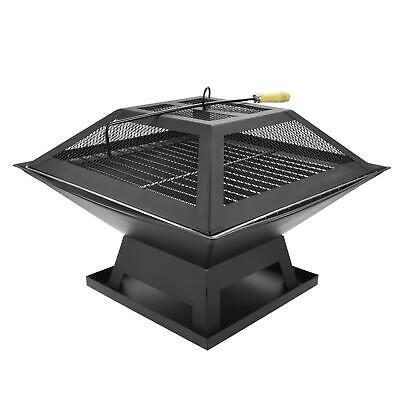 Square Fire Pit Outdoor Garden Patio Heater BBQ Firepit Brazier Charcoal Burner • 24.95£