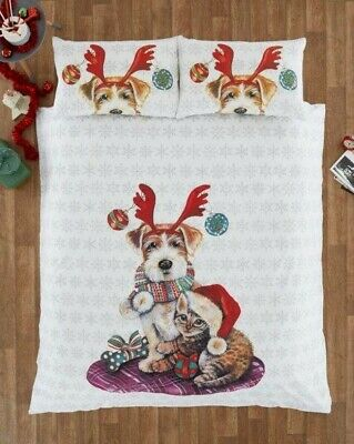 Portfolio Home - Ivy & Snowy Christmas Xmas Dogs Cats Duvet Quilt Cover Bed Set • 15.99£