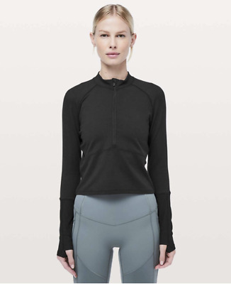 $ CDN52 • Buy Lululemon Its Rulu Long Sleeve Black Crop Top 6 Thumbholes Zip