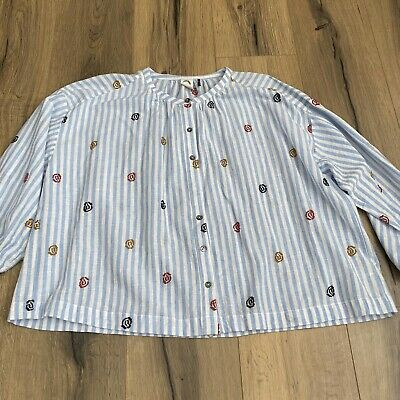 $ CDN19.77 • Buy Anthropologie Akemi + Kin Small Adela Embroidered Top Multicolor Striped READ