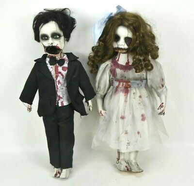 Halloween Bride Groom Dolls Custom Handmade Zombie Scary Creepy OOAK 22  Married • 54.69£
