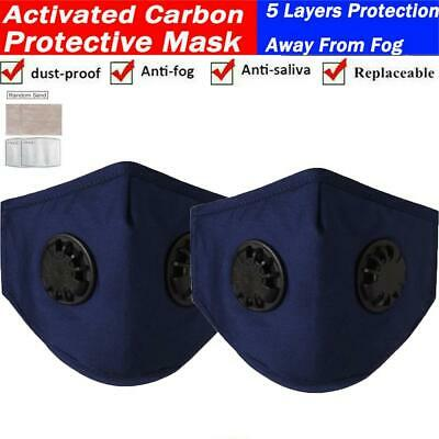 $ CDN32.99 • Buy 2PCS Reusable Washable Face Mask With Filter Pocket Mouth Mask W/ Two Air Valve