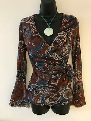 $ CDN29.88 • Buy Sweet Pea Anthropologie Brown Floral Paisley Boho Fluted Sleeves Faux Wrap Small