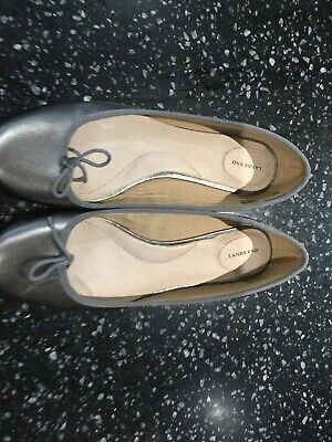 Lands End Pewter Coloured Leather Ballerina Pump Shoes BNWT Size 5 1/2 • 13.50£