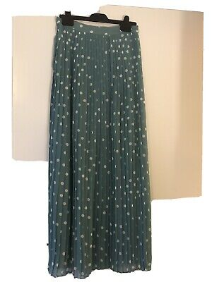 Green And White Polka Dot Pleated Maxi Skirt From Vila • 3£