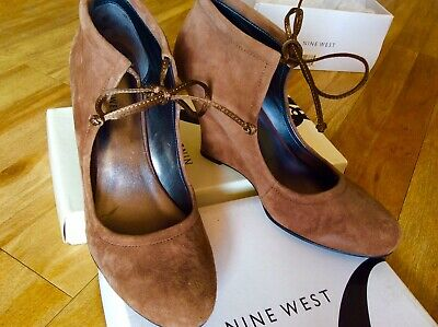 AU29 • Buy NINE WEST Leather Taupe Shoe-bootie Wedge Heels Sz 7.5 NEW
