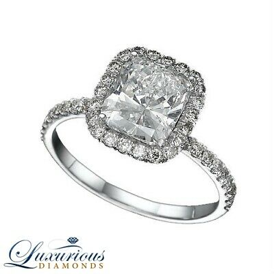 $ CDN4866.78 • Buy Halo Diamond Ring 2 Carat Cushion Cut D VS Solitaire With Accents