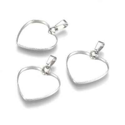 10pcs Stainless Steel Heart Pendant Cameo Cabochon Setting Bezel Blank 19mm Tray • 4.99£