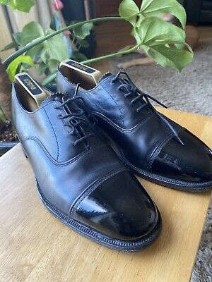 SANDERS ENGLAND MEN'S FAB BLACK LEATHER/PATENT LACE UP SHOES SIZE 8M Used • 18£