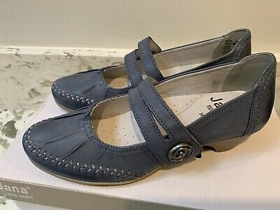 Ladies JANA Navy Leather Shoes SIZE 4 Comfort Shoes • 14.99£