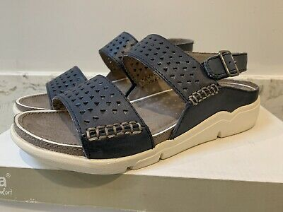 Ladies JANA Leather Navy Sandals Size 6 Comfort Shoes • 14.99£