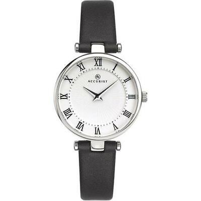 £34.99 • Buy Accurist 8205 Ladies Silver Dial & Black Leather Strap Watch RRP £69.99