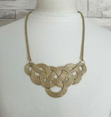 Gold Tone Snake Chain Necklace Large Flat Plaited Pendant STATEMENT Jewellery  • 6.99£