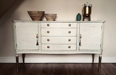 French Vintage Distressed Crackle Effect Antique White Gold Sideboard Strongbow • 220£