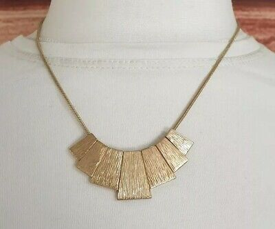 Gold Tone Snake Chain Necklace Flat Metal Beaded Carved STATEMENT Jewellery  • 5.99£