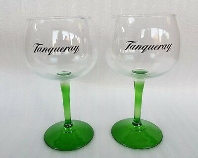 Two Stunning Tanqueray Gin Green Stemmed Balloon Glasses - NEW - Home Bar - Pub • 10£