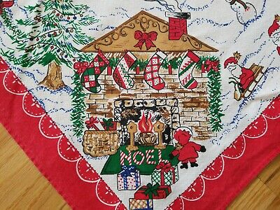 $ CDN20 • Buy Vintage Lands' End Coming Home Christmas Tablecloth 57x79 Winter Village Santa