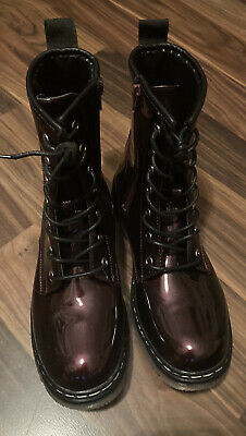 Ladies Burgundy Patent Lace Up Boots * Sz 5 (38)uk ****BRAND NEW**** • 22£