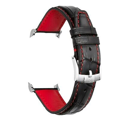 PL 22 & 20mm Black Red Luxury Watch Straps Italian Leather Swiss Made Closure • 34.99£