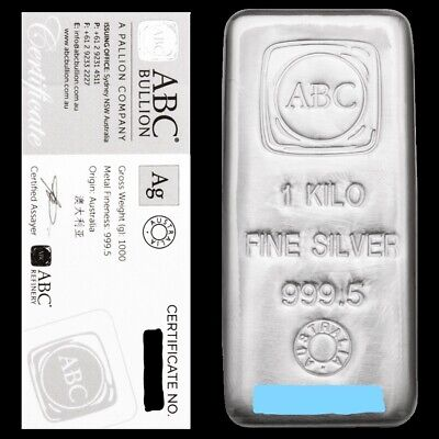 AU1500 • Buy 1kg ABC Silver Cast Bar The Most Fully Featured Australian 1kg Silver