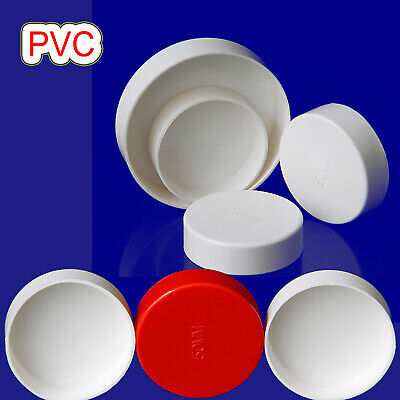 PVC Cap End Caps Plug Blanking 50-200mm White/Red Adhesive Drain Pipe Fittings • 2.75£
