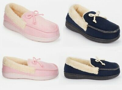 Ladies Womens Real Suede Faux Fur Trim Fleece Lined Warm Moccasin Slippers Shoes • 9.89£
