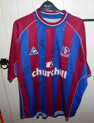 Crystal Palace XXL HOME Football Shirt 2002/03 CHEST 52 SIGNED BY 4 PLAYERS • 16.99£