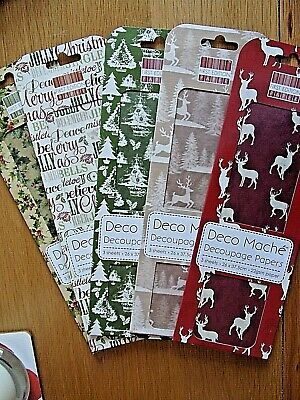 Christmas Decoupage Papers X 5 Packs. BNIP. Each Pack Has 3 Sheets.  Lot 2 • 0.99£