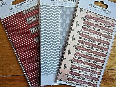 Christmas Decoupage Papers X 3packs. BNIP. Each Pack Has 4 Sheets.  • 0.99£