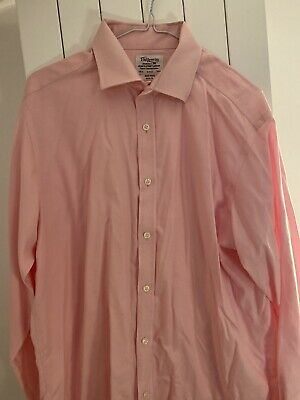 """TM Lewin Mens Shirt 16.5"""" Collar Pink Slim Fit Non Iron Cotton Double Cuff • 2.70£"""