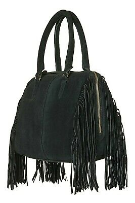 Topshop Real Leather Suede Bag, Boho Style With Fringe, Bottle Green • 17£