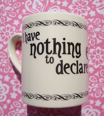 Past Times Oscar Wilde Earthenware Mug - Nothing To Declare  Good Used Condition • 5.99£