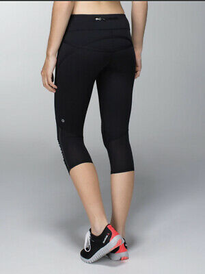 $ CDN65 • Buy LULULEMON ATHLETICA Black RUN: PACE CROP Tights/ Pants Size 6 SMALL
