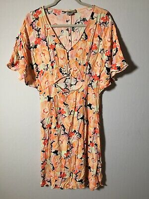 AU24.99 • Buy Asos Womens Colourful Floral Dress Size 14 Short Sleeve Viscose Good Condition