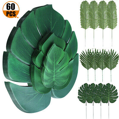 60 Tropical Artificial Palm Leaves Hawaiian Luau Jungle Beach Theme Party Decor • 12.34£