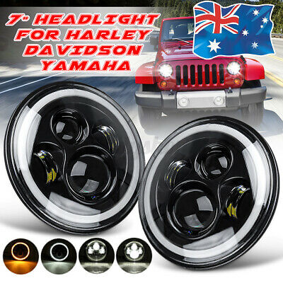 AU58.27 • Buy 2pcs 7'' Round LED Headlight Hi/Lo DRL Projector Light Sealed For Jeep GQ PATROL